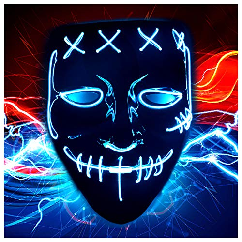 Halloween Scary Purge Costume Mask - Light Up LED Cosplay Creepy Masks - Halloween Masks - Purge Masks - Costume Masks