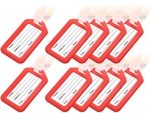 Key Tags, Identifiers Labels For Luggage Suitcases Bags, PVC Travel Baggage Tag Set 10 Pack Color Red