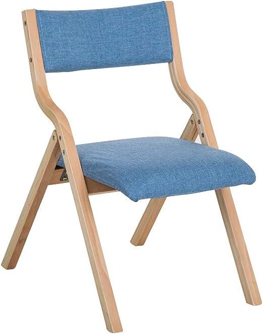 BGTRRYHY - Silla Plegable de Madera Maciza apilable, Color Azul ...
