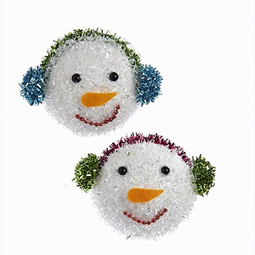 Kurt Adler H8229 60mm Fuzzy Snowman Ornament Set of 4
