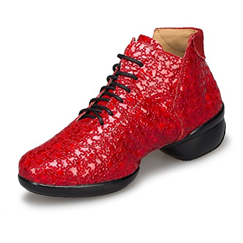 Minitoo LD080 Womens Soft Sole Leather Modern Ballroom Practice Dance Shoes Sport Fitness Sneakers Red-4cm Heel Hz4AxFqoQ