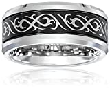 Triton Men's Black and White Tungsten 9mm Tribal Inspired Wedding Band, Size 12