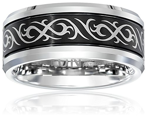 Triton Men's Black and White Tungsten 9mm Tribal Inspired Wedding Band, Size 12 by Amazon Collection