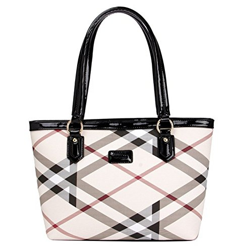 Lady Womens Designer Stylish Grid Top-Handle Handbag Leather Check Shopping Tote Shoulder Bag Red
