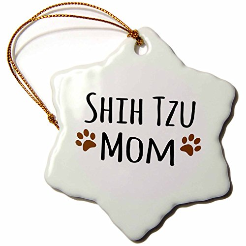3dRose ORN_154196_1 Shih Tzu Dog Mom Doggie by Breed Muddy Brown Paw Prints Doggy Lover Pet Owner Porcelain Snowflake Ornament, 3-Inch (Shih Tzu Prints Paw)