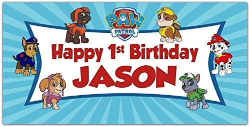 Paw Patrol Birthday Banner Personalized Party Backdrop Decoration ()