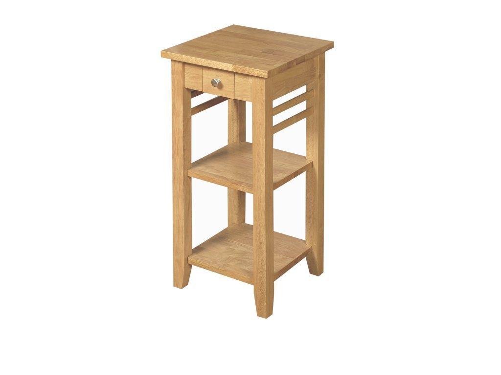 Telefontisch in Eichenoptik aus Massivholz, 1 Schublade, Lampentisch, Wohnzimmermöbel