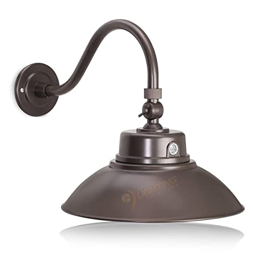 Bronze Gooseneck Barn Light LED Fixture For Indoor/Outdoor Use   Photocell  Included