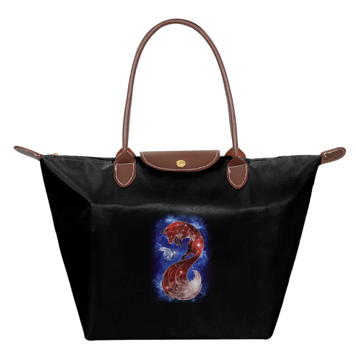 Starry Sleeping Moon Waterproof Leather Folded Messenger Nylon Bag Travel Tote Hopping Folding School Handbags