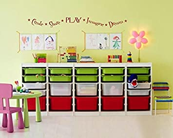 Nursery Playroom Wall Decal   Kids Wall Decals   Create Share Play Imagine  Dream Wall Art