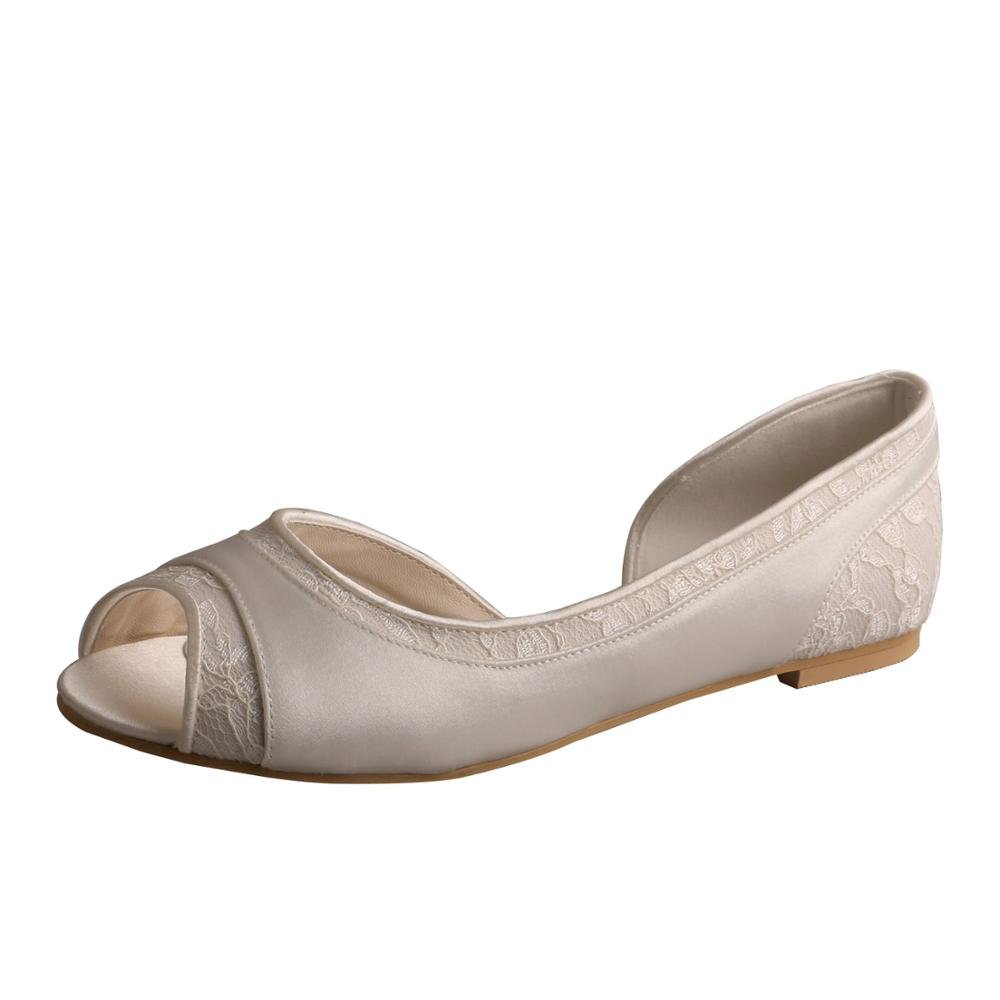 Wedopus MW060 D'Orsay Satin and Lace Open Toe Ballet Flat Women Wedding Shoes for Bride Szie 11 Ivory