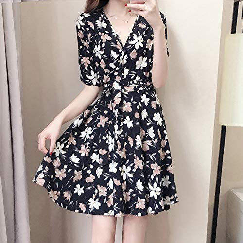 soAR9opeoF ♠ Women Summer Print V Neck Short Sleeve comfortable Fashion Party Flower Belted Mini Dress XXXL