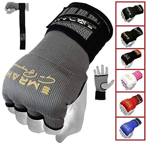EMRAH PRO Training Boxing Inner Gloves Hand Wraps MMA Wraps Mitts - X (Grey, Medium)