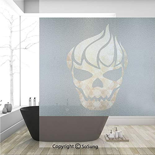 3D Decorative Privacy Window Films,Gothic Skull with Fractal Effects in Fire Evil Halloween Concept,No-Glue Self Static Cling Glass Film for Home Bedroom Bathroom Kitchen Office 36x36 Inch -