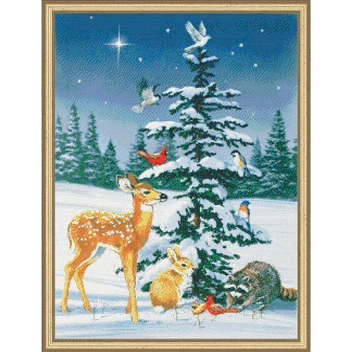 Kustom Krafts Inc Christmas Tree Gathering Counted Cross-Stitch Chart