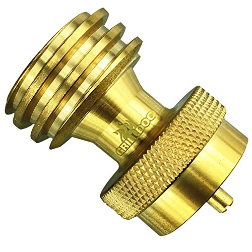 Steak Saver Adapter, 1 Pound Propane Tank Refill Connector - Grilling Backup - Replacement for Disposable Bottle Adapter 100% Solid Brass - NO TOOLS Required BBQ Grill Back Up from Grill Doc