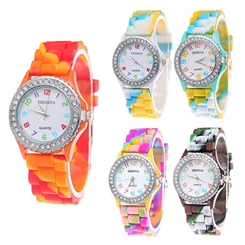 CdyBox Wholesale Watch Set Lot 5 Pack Rhinestone Colorful Silicone Jelly Wristwatch for Women Girls Kids from CdyBox