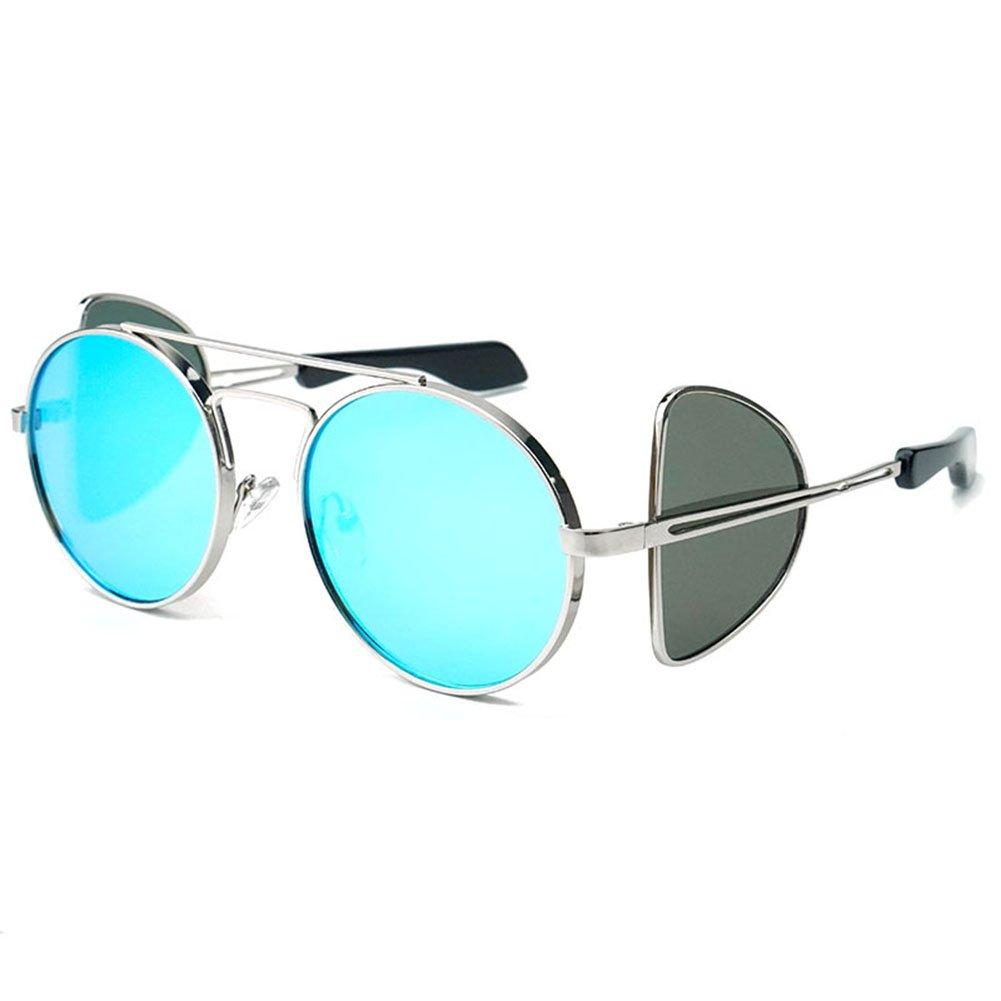 Vintage-Stil Sonnenbrille Runde Rahmen Metallrahmen Steampunk Reise Persönlichkeit Straße Schlagen Gläser,Blue
