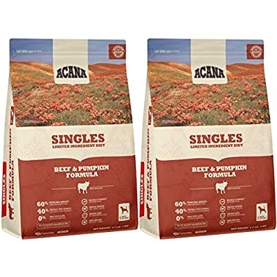 ACANA Beef & Pumpkin Singles for Dogs, 4.5 Ounces Each, Limited-Ingredient Dry Dog Food Made in The USA