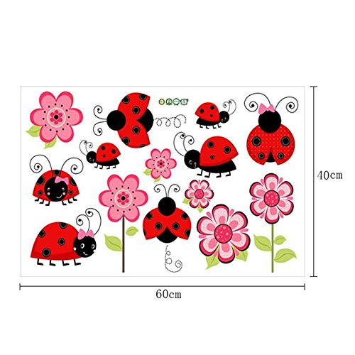 Earchy Wall Sticker,Color Ladybug Wall Sticker Animal Cartoon Nursery Kindergarten Children's Room Bedroom Decoration Removable Waterproof Mural ()