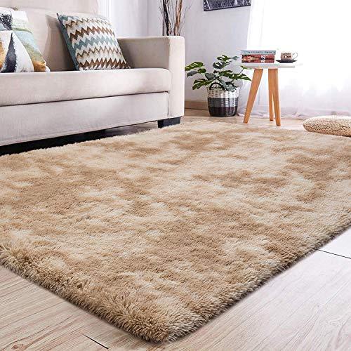 YJ.GWL Soft Shaggy Area Rugs for Girls Room Bedroom Non-Slip Kids Carpet Baby Nursery Decor Fluffy Modern Rug 4 x 6 Feet Camel