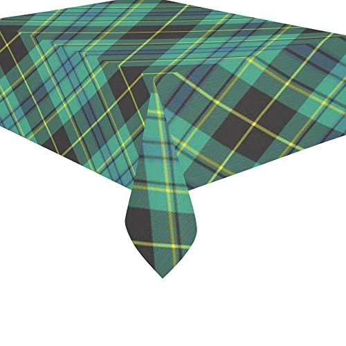 InterestPrint Home Decor Green and Black Checkered Cotton Linen Tablecloth Set 60 X 84 Inches - Ireland Tartan Desk Table Cloth Cover for Holiday Party Decoration
