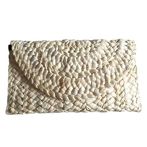 (Women Straw Bag Clutch Bags Female Handbag Handmade Rattan Bag Corn Peels Woven Summer Casual Beach Pocket)