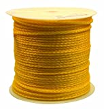 Rope King HBP-141000Y Hollow Braided Poly Rope - Yellow - 1/4 inch x 1,000 feet