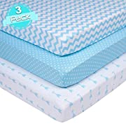 Crib Sheets Set for BOYS | Super Soft 100% Jersey Knit Cotton | Blue and White | 150 GSM | 3 Pack