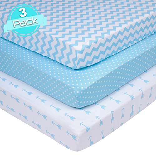 Crib Sheets Set for BOYS | Super Soft 100% Jersey Knit Cotton | Blue and White | 150 GSM | 3 Pack by BaeBae Goods