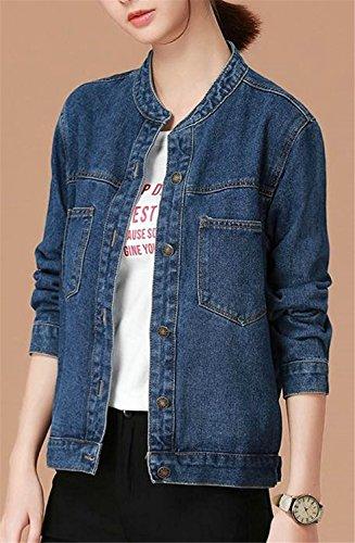 Reedbler Womens Stand Collar Stretch Loose Short Denim Jean Jacket Dark BlueMedium