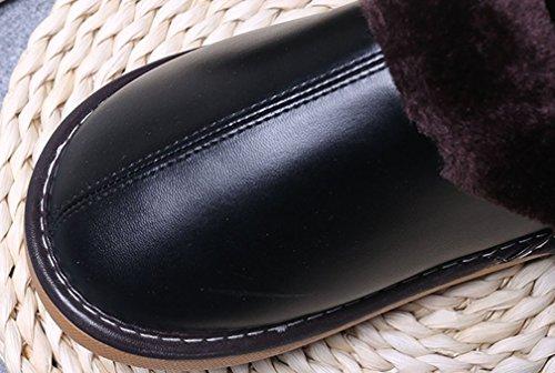 Cattior Mens Colorate Comode Pantofole Di Pelliccia Calda Pu Pantofole In Pelle Nera