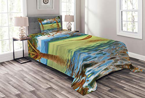 Paradise Quilted Hammock - Ambesonne Beach Bedspread Set Twin Size, Image Hammock Hanging Between Trees in The Tropical Lake Paradise Lands Art Work, Decorative Quilted 2 Piece Coverlet Set Pillow Sham, Multicolor