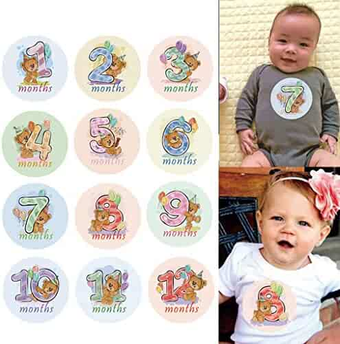 Stebcece 12 Pcs Month Sticker Baby Photography Milestone Memorial Monthly Newborn Kids Commemorative Card Number Photo Props Accessories