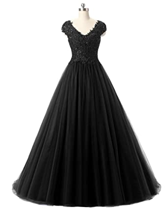 Pettus Womens Sequined Applique Prom Dresses Long V Neck Beading Lace Party Ball Gown Formal