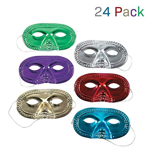 Kidsco Metallic Half Mask - Pack of 24 – Assorted Cool Colors - for Kids Ages 5 - 14, Masquerade, Mardi Gras, Parties, Prom, Halloween, Dress Up, Costume