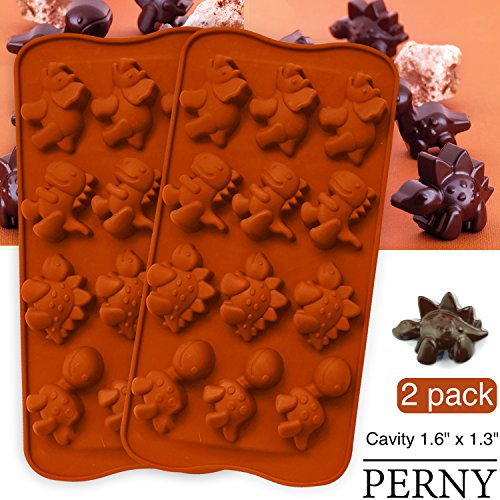 PERNY Dinosaur Molds, Dinosaur Silicone Molds, Candy, Chocolate Etc, 2 Pack by PERNY