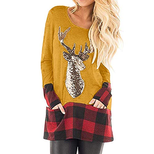 Franterd Christmas Plus Size Tops Women Christmas Plaid