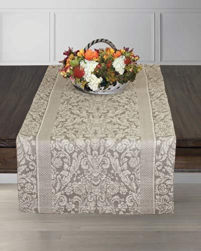 Armani International Luxury European Linen Cotton Jacquard Table Runner, 18