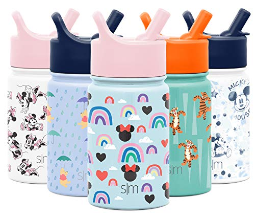 Simple Modern 10oz Disney Summit Kids Water Bottle Thermos with Straw Lid - Dishwasher Safe Vacuum Insulated Double Wall Tumbler Travel Cup 18/8 Stainless Steel - Disney: Minnie Rainbows