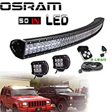 TURBOSII 50 Inch LED Light Bar 288W Curved Dual Row Flood And Spot Combo Beam with 2Pcs 4Inch 18w Led Work Light and Wirng Harness Kit For Offroad Driving SUV 4WD Truck Car ATV 4X4 JEEP
