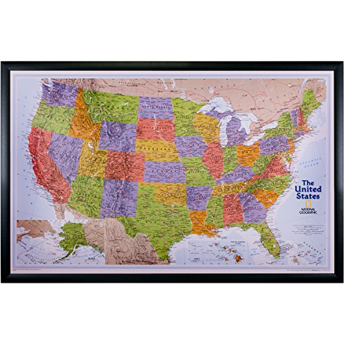 (Craig Frames Wayfarer, United States Explorer Push Pin Travel Map, Black Frame and Pins, 20 x 32 Inch)