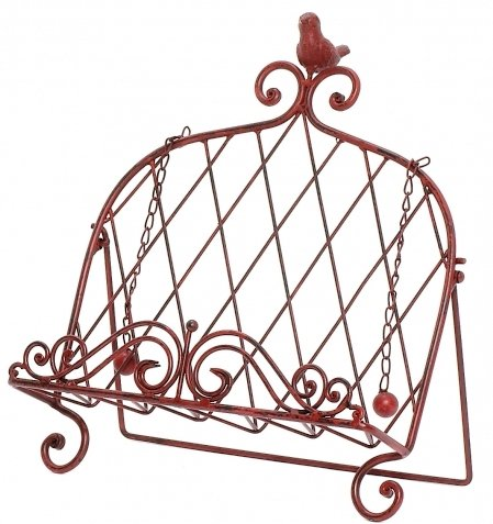 - Iron Cookbook Stand ~ Book Holder Adorned with Bird ~ Worn Red Color