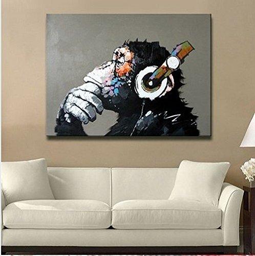 Sunteeny Modern Framed Gorilla Monkey Music Wall Decoration/Home Decor Oil Painting on Canvas