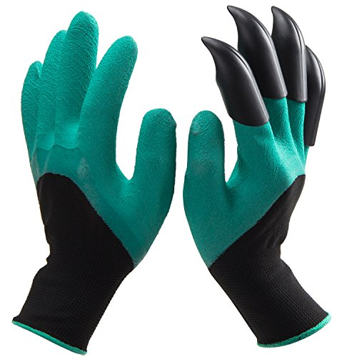 ANPHSIN Handed Garden Genie Gloves with Claws on Right Hands for Digging and Planting As Seen On TV (1 Pair), Green