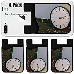 Liili Phone Card holder sleeve/wallet for iPhone Samsung Android and all smartphones with removable microfiber screen cleaner Silicone card Caddy(4 Pack) Wall clock on the wooden floor Process in vin