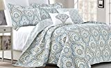 #2: Serenta Tivoli Ikat Design 5 Piece Teal Aqua Printed Prewashed Quilted Coverlet Bedspread Bed cover Summer Quilt Blanket with Cotton Polyester Filled Embroidery Pillow Set, Oversize