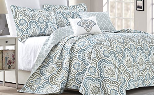 Serenta Tivoli Ikat Design 5 Piece Teal Aqua Printed Prewashed Quilted Coverlet Bedspread Bed cover Summer Quilt Blanket with Cotton Polyester Filled Embroidery Pillow Set, Oversize