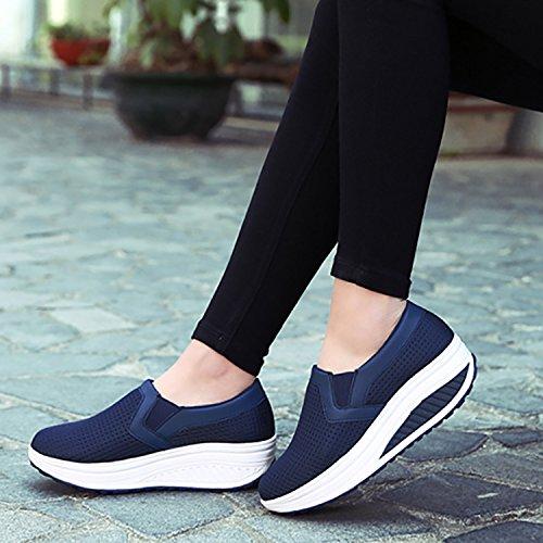 Odema Mujeres Mesh Platform Sneakers Slip On Shape Up Wedge Sneakers Comfort Walking Zapatos Size6-10 Darkblue