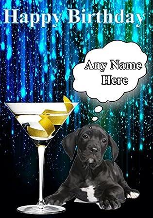 Joyeux Anniversaire Dogue Allemand Chiot Carte Code27 Verre A
